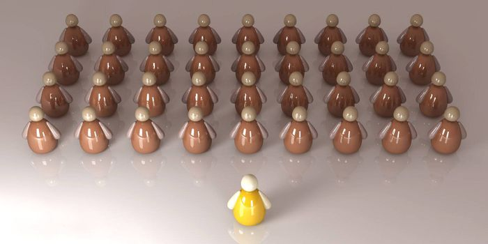 3D Illustration. The Boss/Leader/Teacher of a Group.