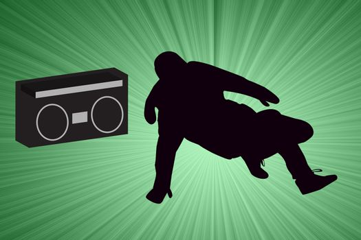 Breakdancer Dancing with Old School Boom Box Silhouette illustration.