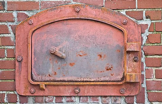 Red Brick Furnace, Boiler, or Incinderator Oven with Textured Background