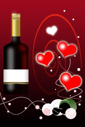Valentines Day Background and Wine Bottle with Blank Label Illustrationii.