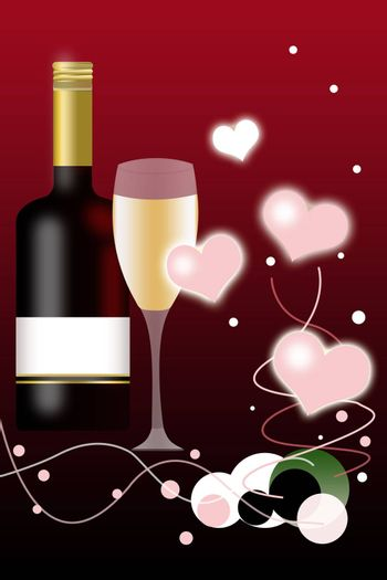 Valentines Day Background and Wine Bottle with Blank Label Illustration.