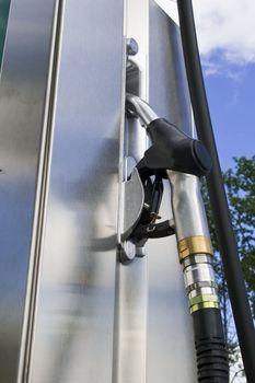 Photo of close up gasoline pump