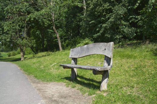 Wooden bench looking beautiful in green nature