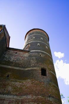 Tower of castle Panemune against blue sky