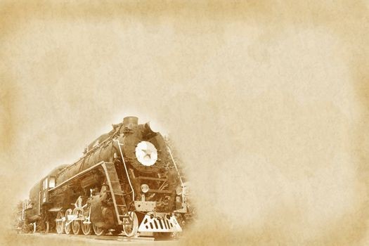 Vintage background with old soviet steam locomotive (made using my own photo)