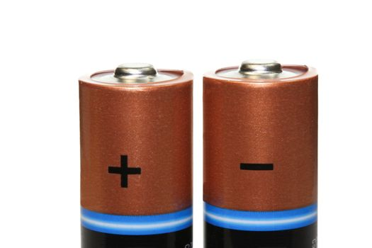 Batteries accumulators Isolated on a white background Macro