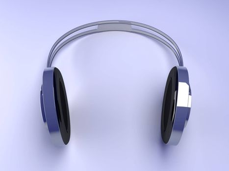3D rendered Illustration. Chrome / Silver Headphones.