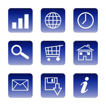 Set of glossy communication icons isolated on white background.