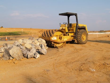 heavy duty roller at a construction site