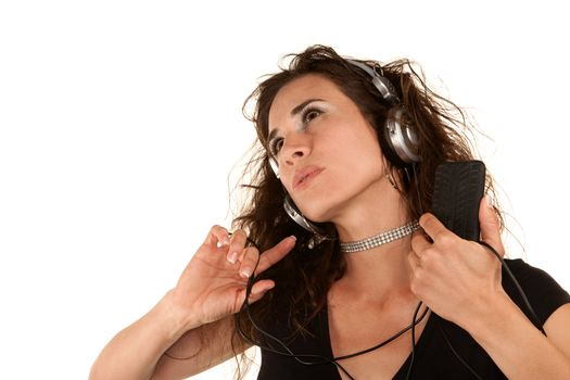 Pretty woman with handheld audio device