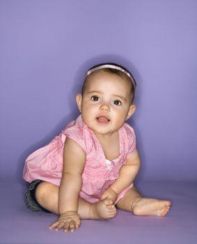 Hispanic female baby portrait.