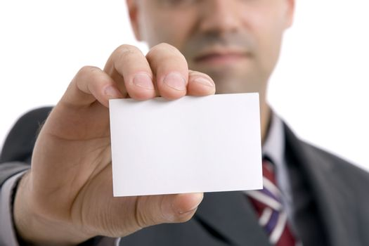 business man showing his business card