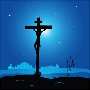 Calvary - crucifixion scene with Jesus Christ on cross