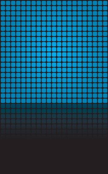 Geometric blue squares illustration with reflections and copyspace.