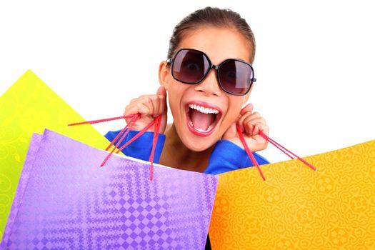 Funny woman shopping