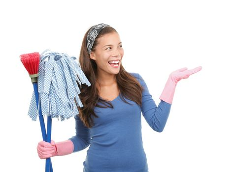 Cleaning woman showing copy space