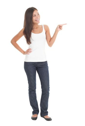 Full length woman pointing