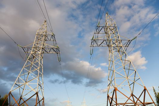 Two high-voltage towers