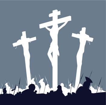 Jesus Christ crucifixion - scene with three crosses