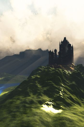 A beautiful castle sits on the top of a hill overlooking a lush green river valley.