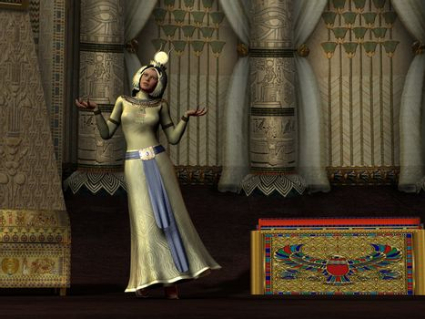 An Egyptian queen dances for the pharaoh in her palace chambers.