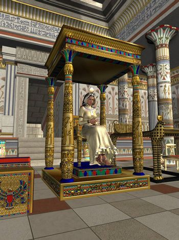 A queen sits on her royal throne in the ancient Egyptian dynasty.