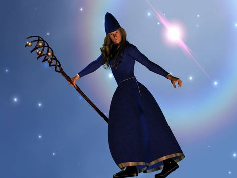 A warlock casts a spell during a starry night.