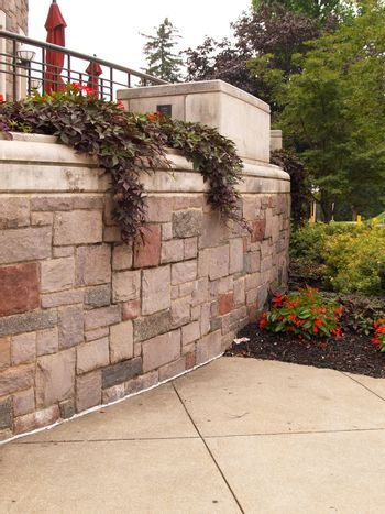 stone wall with flowers growing over it