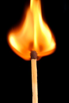 Burst into flames