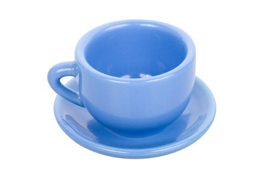 close-up blue cup with saucer, isolated on white