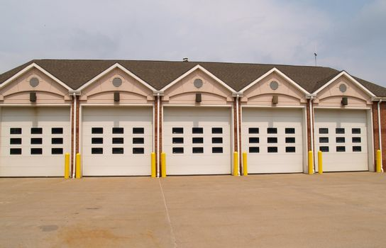 row of garage doors for a firehouse
