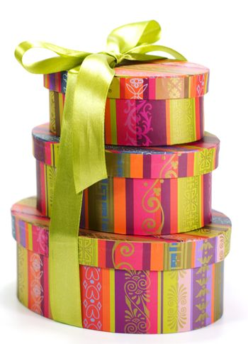 pyramid of colorful gift boxes