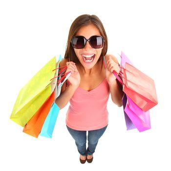 Shopping girl screaming of joy