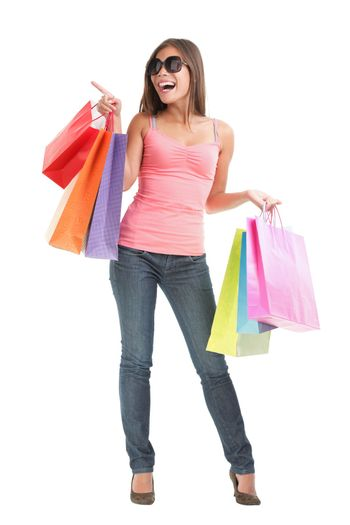 Shopping woman full body isolated