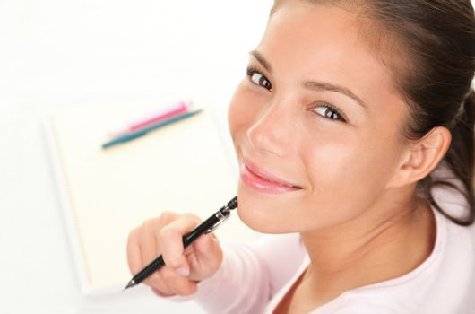 Happy student studying