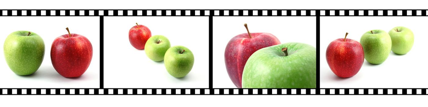 collection of fruits with film strip