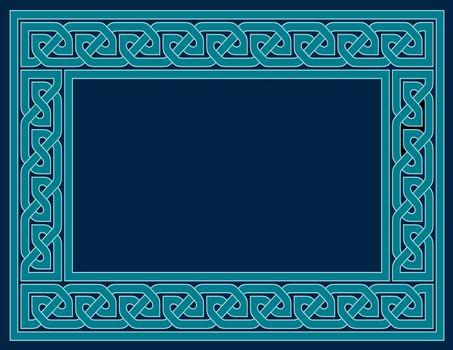 A Celtic knot frame in teal, JPG version.
