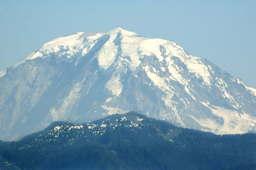 The peak of Mount Rainier from approximately 50 miles away.