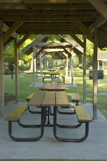 Three picnic shelters in a row in the Mud Mountain Dam Park in Enumclaw, Washington.