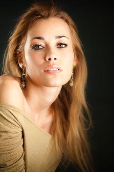 attractive woman looking at camera