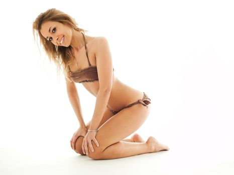 blond woman in bikini