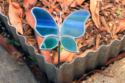Handmade Stained Glass Butterfly - Garden Decoration