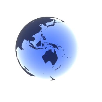 A globe with Australia rendered in a soft blue gel.