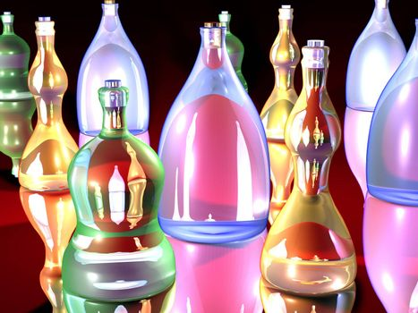 3D Bottle Arrangement. Rendered in a gaudy comic style.