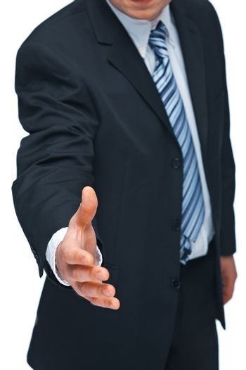 Closeup of a mature business man's hand greeting you , isolated on white background