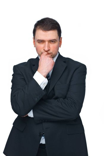 Handsome mature business man isolated against white looking forward in thought