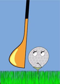 angry golfball awaiting stroke