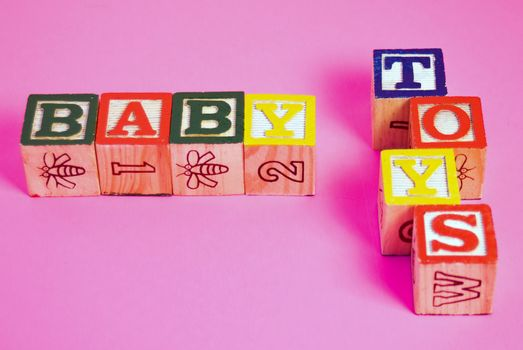 Colorful building blocks used to teach infants