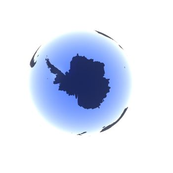A globe rendered in a soft blue gel looking up at the South Pole