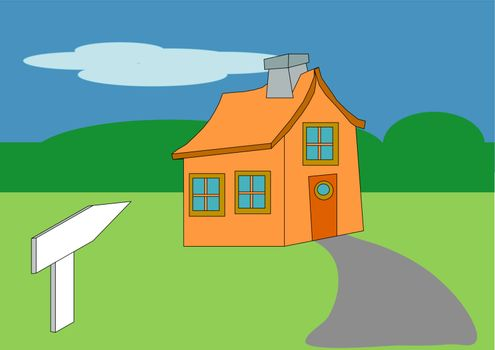 House and Sign Toon